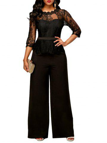 Hot Peplum Lace Panel Jumpsuit