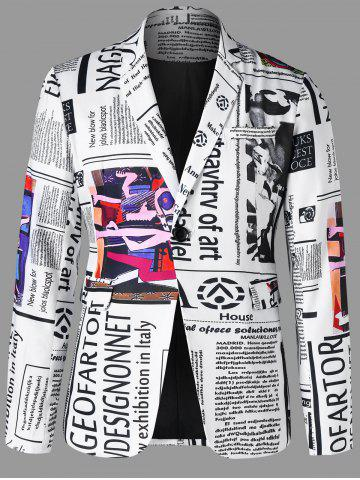 Trendy Newspaper Print Lapel Blazer
