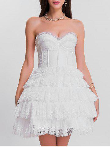 Trendy Tier Lace Ruffles Bandeau Corset Dress