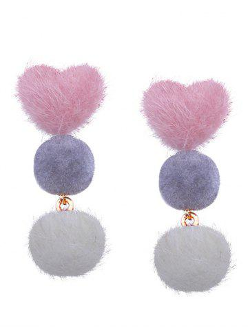 Trendy Heart and Little Furball Stud Drop Earrings