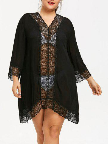Affordable Plus Size Lace Edge Cover-up Dress
