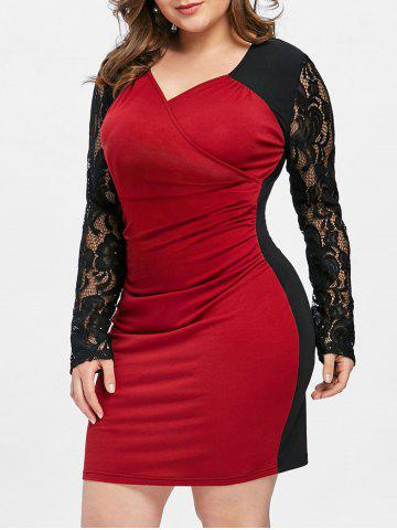 Affordable Lace Insert Surplice Ruched Plus Size Dress