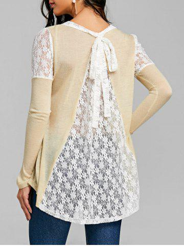 Outfits Back Tie Up Long Sleeve Lace Insert Top