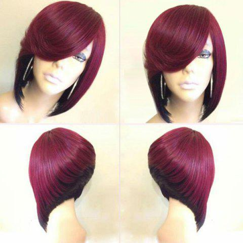 Short Side Parting Straight Inverted Bob Colormix Synthetic Wig