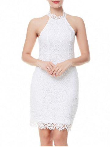 Trendy Back Slit Sheath Lace Dress