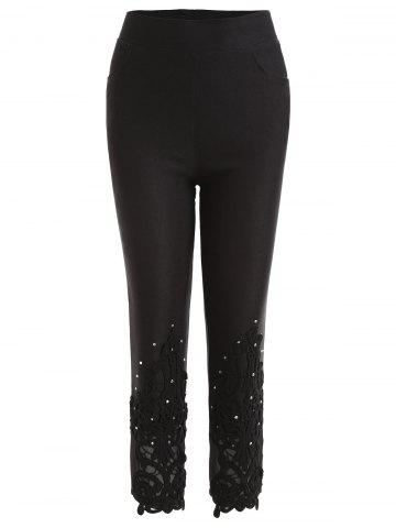 Affordable Beading Lace Panel Skinny Capri Pants
