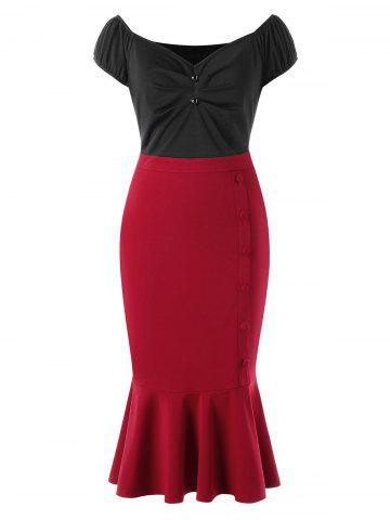 Latest Plus Size Cap Sleeve Fishtail Dress