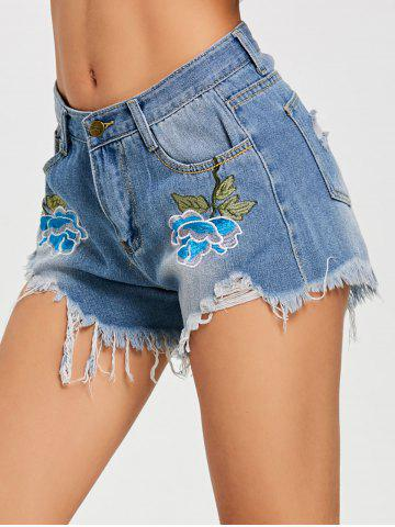 Fancy Embroidery Destroyed Denim Shorts