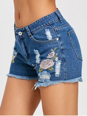 Trendy Embroidery Frayed Hem Denim Shorts