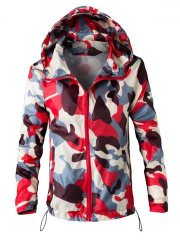 Mesh Lining Camouflage Zip Up Windbreaker Jacket