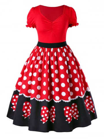 Outfits Plus Size Polka Dot Swing Dress