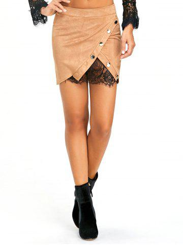 Fancy Buttoned Lace Insert Mini Skirt