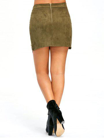 Buttoned Lace Insert Mini Skirt