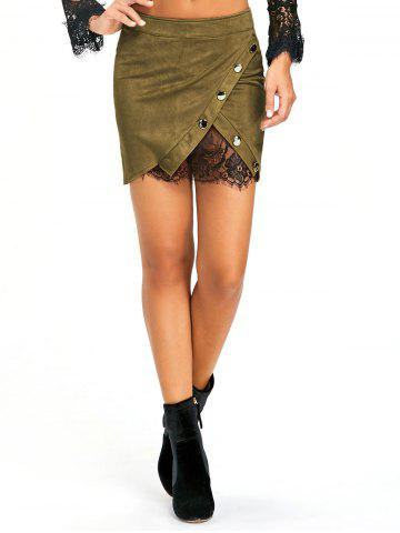 Affordable Buttoned Lace Insert Mini Skirt