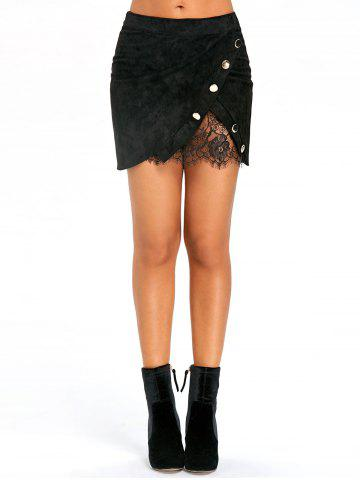 Discount Buttoned Lace Insert Mini Skirt