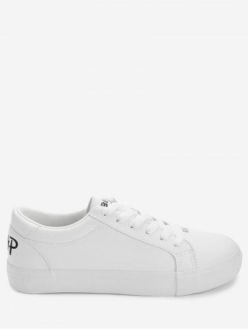 Unique PU Leather Letter Embroidery Skate Shoes