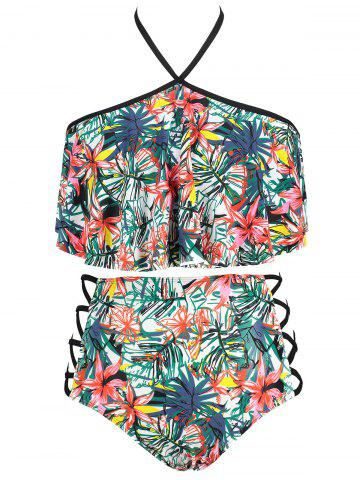 Shops Flower Print Plus Size Lattice Side Bikini Set
