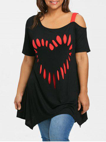 Plus Size Short Sleeve Heart Shape Tunic T-shirt - BLACK - 5XL