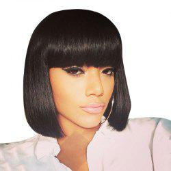Short Neat Bang Straight Bob Human Hair Wig -