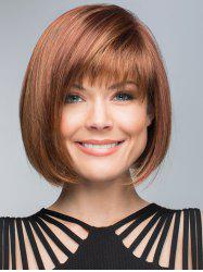 Short Inclined Fringe Straight Bob Human Hair Wig -