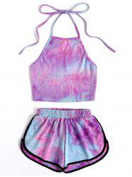 Halter Crop Ombre Top and Dolphin Shorts -