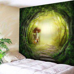 Magical Forest Mushroom House Pattern Tapestry -
