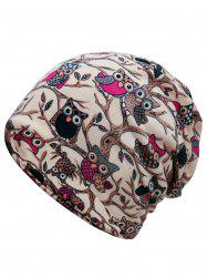 Funny Owl Pattern Embellished Slouchy Beanie -
