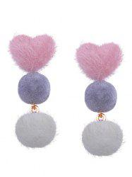 Heart and Little Furball Stud Drop Earrings -
