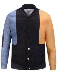 Color Block Pocket Pattern Jacket -