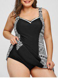 Geometric Print Skirted Plus Size Swimsuit -