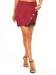 Buttoned Lace Insert Mini Skirt -