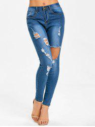 Mid Rise Skinny Distressed Jeans -