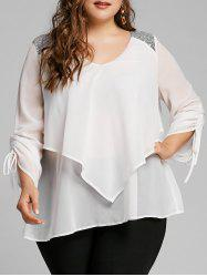 Plus Size Sequined Trim Overlay Blouse -