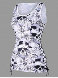 Paisley Skulls Lace Up Tank Top -