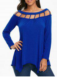 Long Sleeve Lattice Cut Tunic T-shirt -