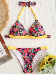 Printed Braided Strap Bikini Set -