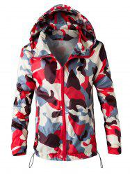 Mesh Lining Camouflage Zip Up Windbreaker Jacket -