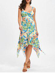 Asymmetric Tropical Print Midi Dress -