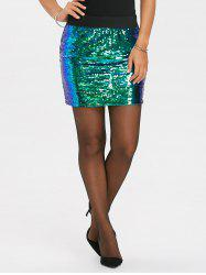 Zip Up Ombre Sequins Mini Skirt -