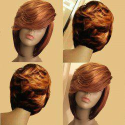 Short Layered Side Parting Slightly Curly Bob Synthetic Wig -