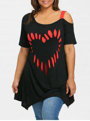 Plus Size Short Sleeve Heart Shape Tunic T-shirt -