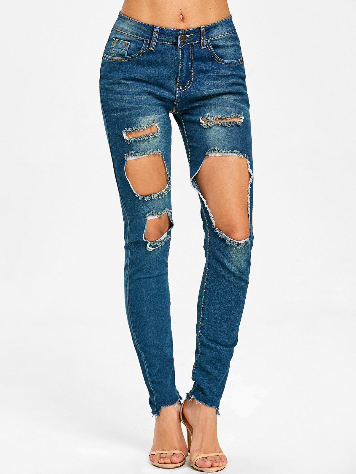 Cheap Frayed Skinny Destroyed Jeans