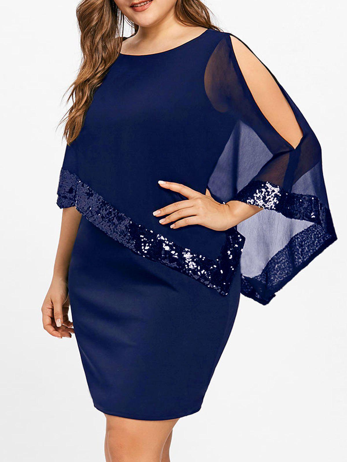 New Plus Size Sequins Overlay Dress