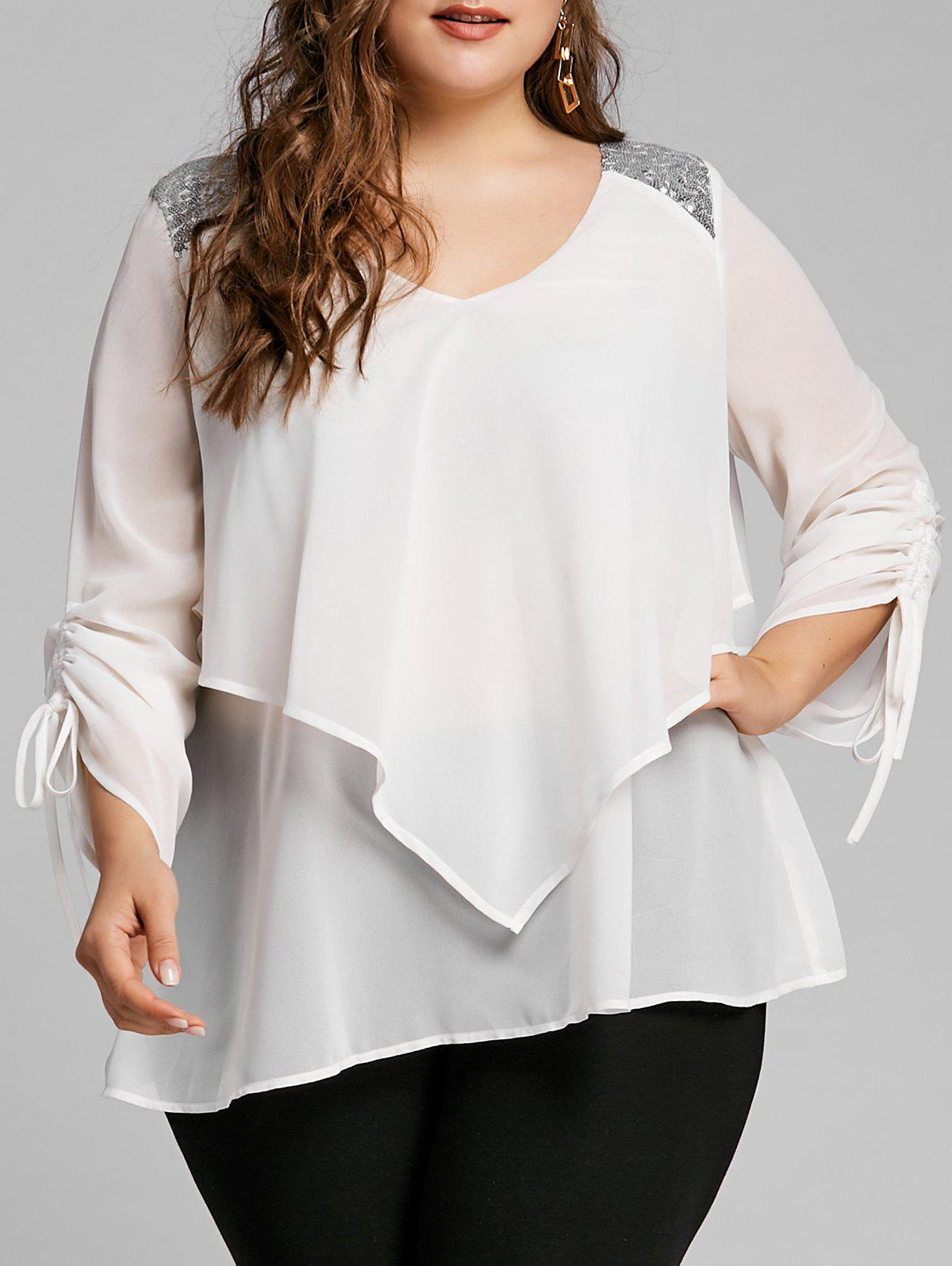 Shops Plus Size Sequined Trim Overlay Blouse