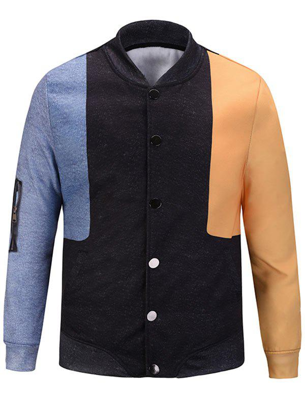 Hot Color Block Pocket Pattern Jacket