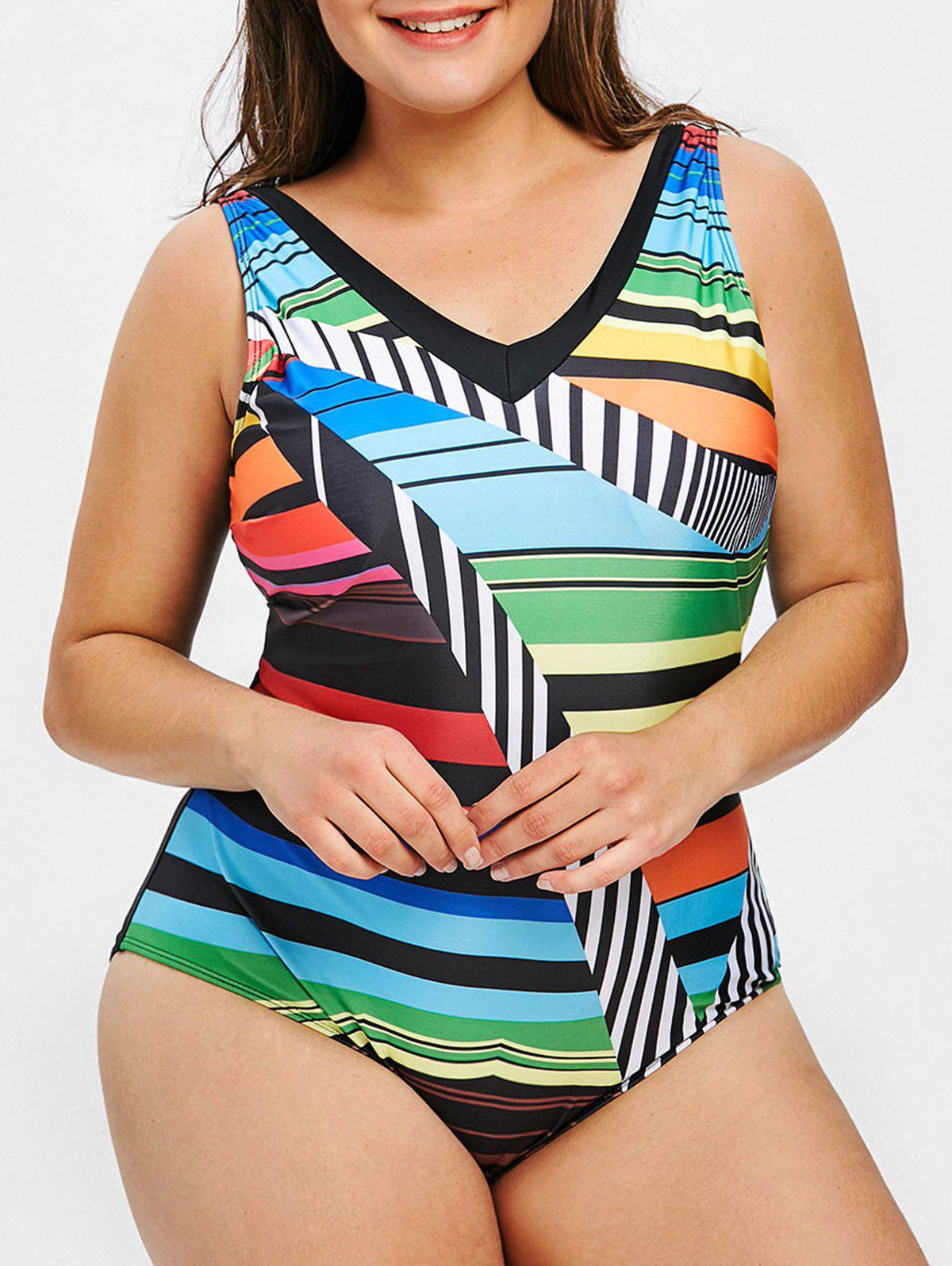 Best Plus Size Geometric Printed One Piece Swimsuit