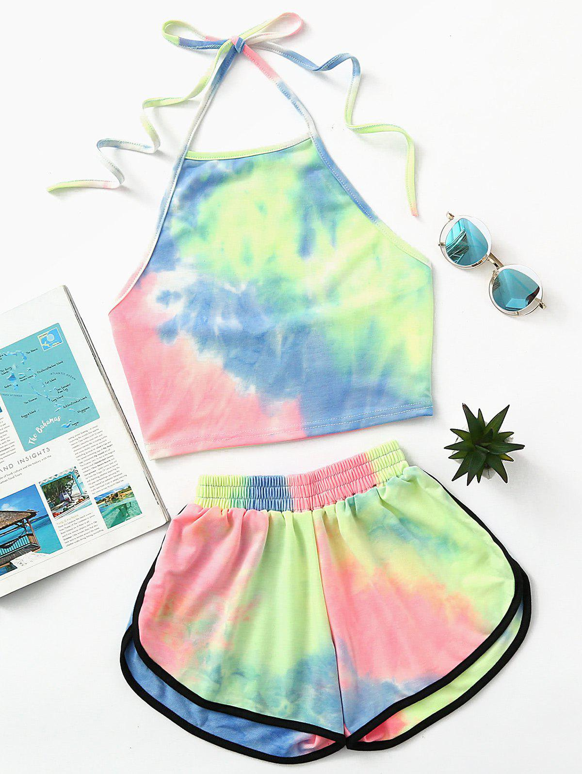 Unique Halter Crop Ombre Top and Dolphin Shorts