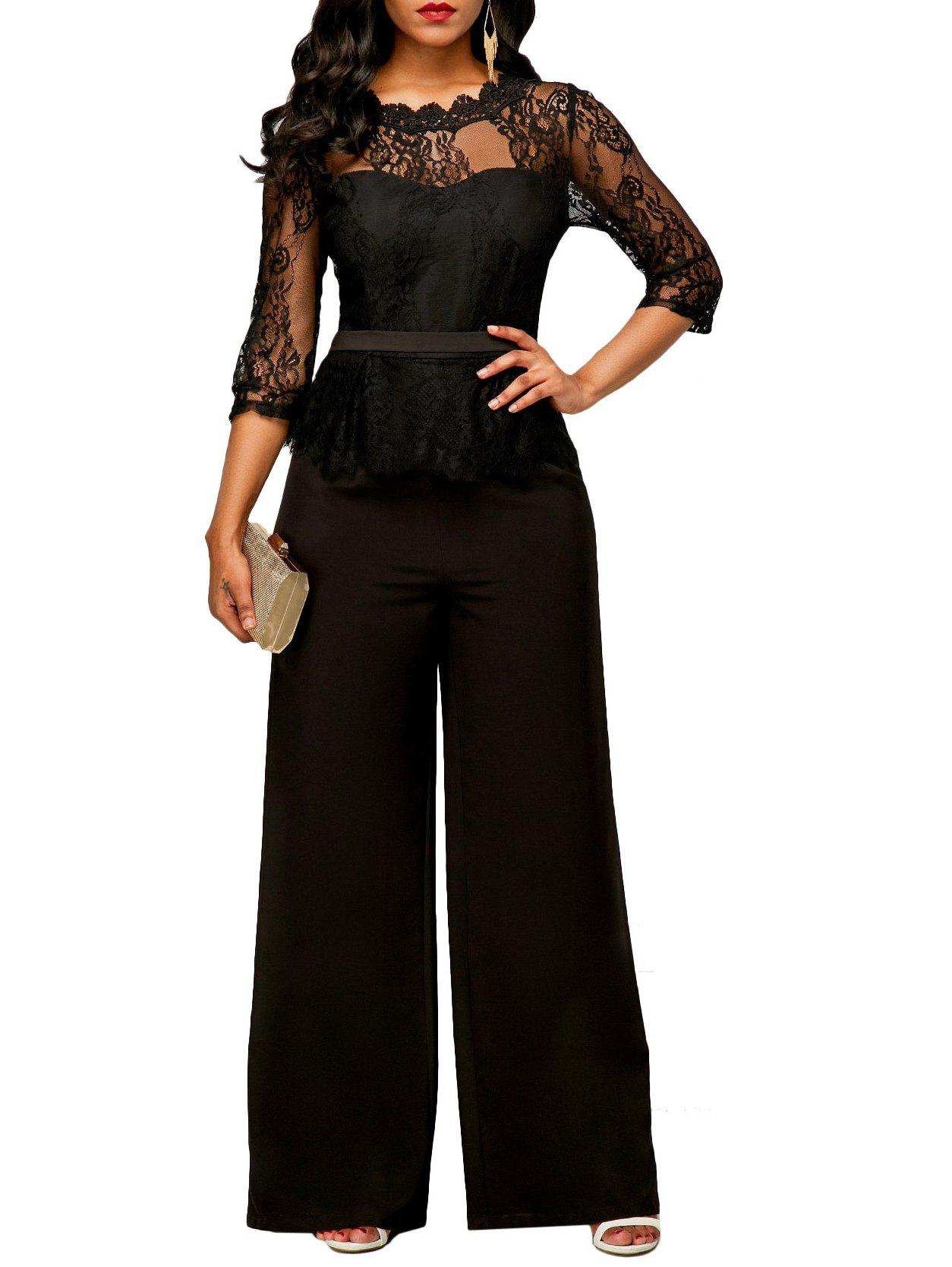 Fancy Peplum Lace Panel Jumpsuit