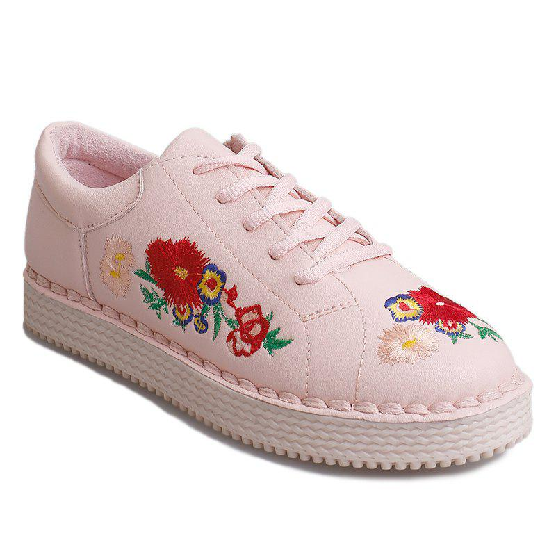 Shops Round Toe Floral Embroidered Sneakers