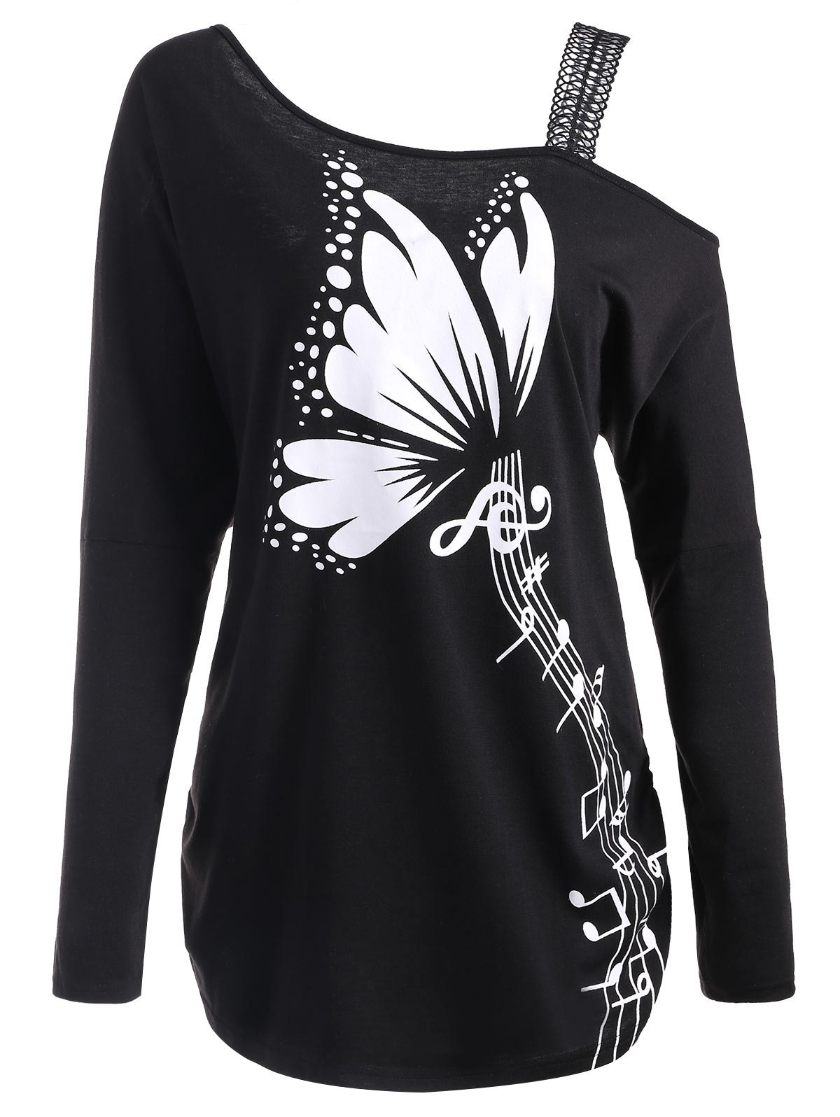 Hot Butterfly Musical Notes Print Plus Size T-shirt
